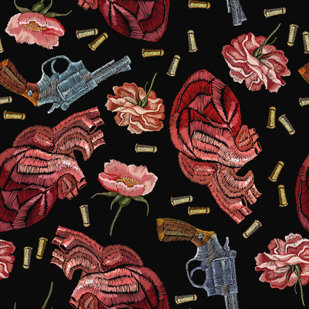 Embroidery guns, flowers peonies and anatomical hearts. Creative fashion embroidery wild west, gangster background. Stock Illustratie