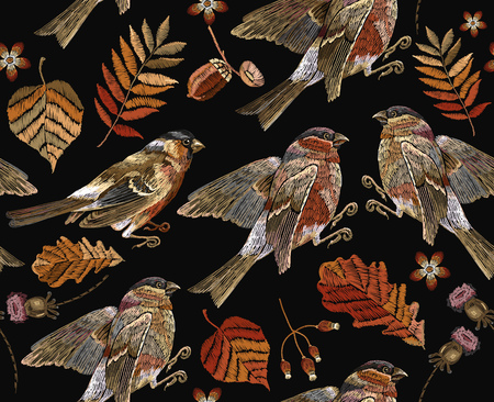 Embroidery autumn and birds seamless pattern. Fashionable template for design of clothes, t-shirt design.
