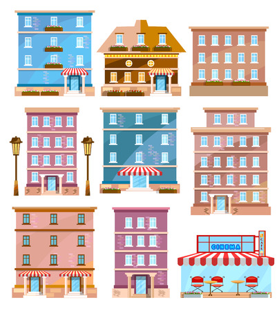 Buildings city vector. Modern city houses flat set. Houses and shops template for design. Stock Illustratie