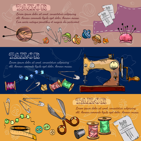 Tailor banners vector. Studio on tailoring tools seamstress fashion designer vector illustration.