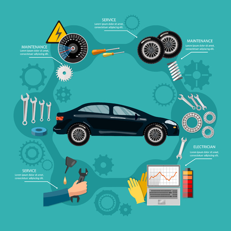 Car service mechanic tool box tire service, car repair and running diagnostics vector illustration.
