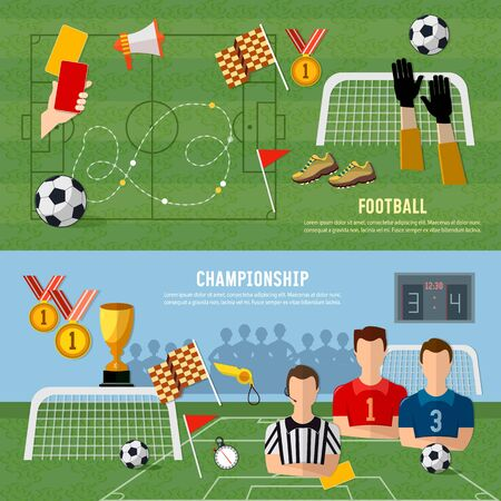 Elements of professional soccer flat design. Soccer banner, football team, signs and symbols