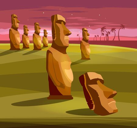 Stone idols. Tourism and vacation tropical Easter island background. Moai statues of Easter island landscape Polynesia