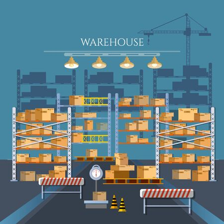 Logistic and delivery service concept. Warehouse industry. Warehouse interior box on rack and warehouse building 스톡 콘텐츠 - 126421604