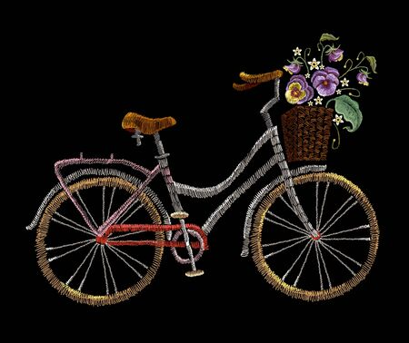 Embroidery bicycle with basket flowers. Fashionable embroidery bicycle on white background, spring art, template for romantic clothes, t-shirt design 스톡 콘텐츠