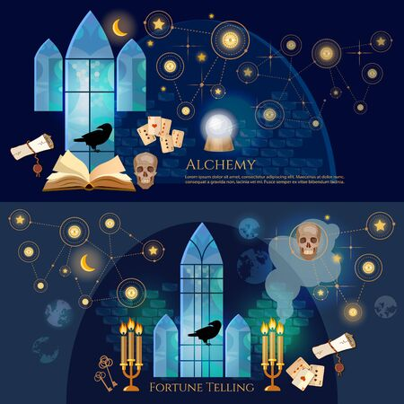 Medieval alchemical laboratory banner. Open book of spells, skull, occult and esoteric. Fortune telling, crystal ball, medieval castle wizard. Vintage key magic objects and scrolls alchemy concept 스톡 콘텐츠 - 126421609