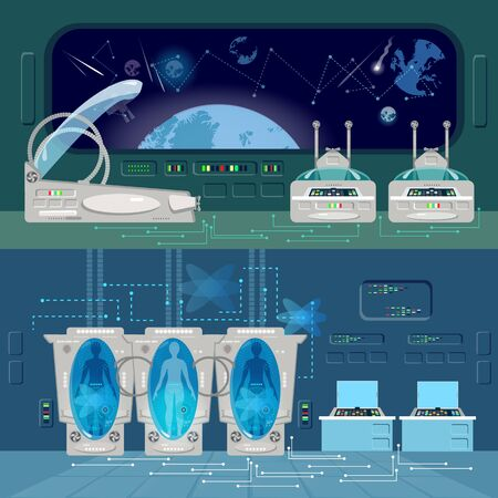 Space travel to other planets banner. Technologies of future, colonization of Universe. Astronauts in cryogenic cameras, deep space interior of interstellar ship 스톡 콘텐츠 - 126421610