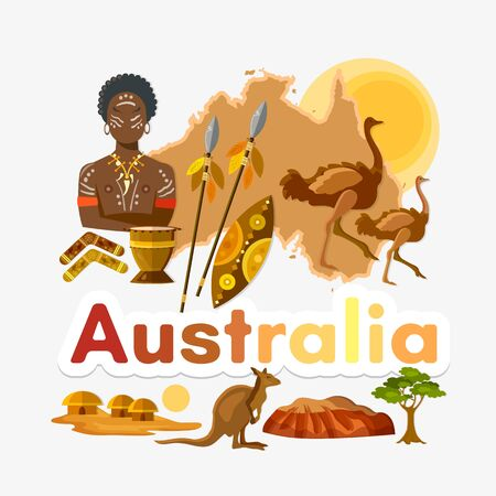 Travel to Australia. Traditions and culture,  Welcome to Australia. Collection of symbolic elements. Template travel background Stockfoto - 126421611
