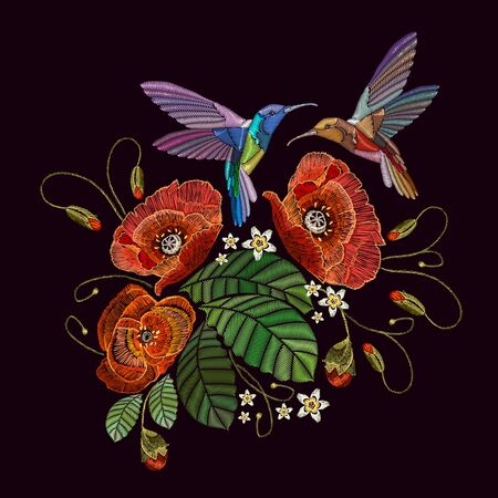 Two humming birds and red poppies, embroidery on black background. Beautiful bouquet and tropical humming bird vector. Decorative floral poppies embroidery Stockfoto - 126421614