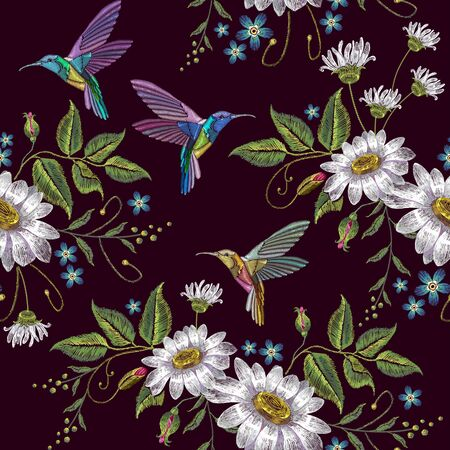 Humming bird and chamomile embroidery seamless pattern. Template for clothes, textiles, t-shirt design. Beautiful hummingbirds and white chamomile embroidery on black background