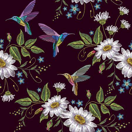 Kolibri und Kamille Stickerei nahtlose Muster. Vorlage für Kleidung, Textilien, T-Shirt-Design. Schöne Kolibris und weiße Kamillenstickerei auf schwarzem Hintergrund