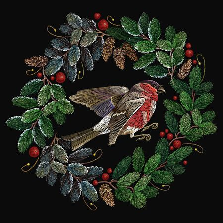 Embroidery christmas tree wreath and red bullfinch.  Merry Christmas classical embroidery snow-covered branch of a fir-tree. Christmas fashion t-shirt art 일러스트