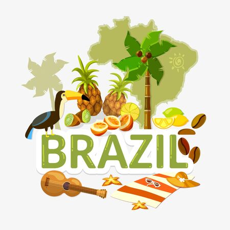 Travel to Brazil. Traditions and culture,  Welcome to Brazil. Collection of symbolic elements. Template travel background 스톡 콘텐츠 - 126421624