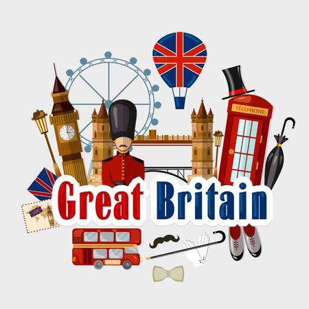 Travel to Great Britain. Traditions and culture,  Welcome to England. Collection of symbolic elements. Template travel background Stockfoto - 126839739