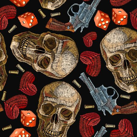Embroidery skulls, hearts, guns, casino seamless pattern. Wild west embroidery old revolvers, red hearts and human skulls, gangster gothic fashion background. Design of clothes, t-shirt design
