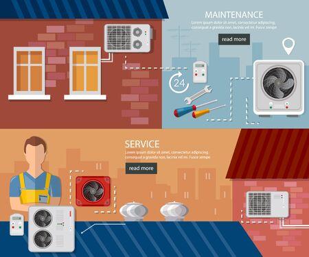 Split-System Lüftungssysteme prüfen. Installation von Klimaanlagen-Service-Bannern. Klimaanlageninstallation und Klimaanlagenreparatur