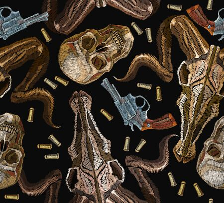 Embroidery skulls and guns seamless pattern. Wild west embroidery old revolvers and human skulls, bull skull, gangster gothic western clothes background