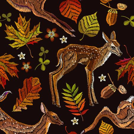 Embroidery deer, autumn seamless pattern. Fashionable template for design of clothes, t-shirt design. Classical september embroidery autumn leaves, fawn deer, oak and maple leaves 스톡 콘텐츠 - 126839767