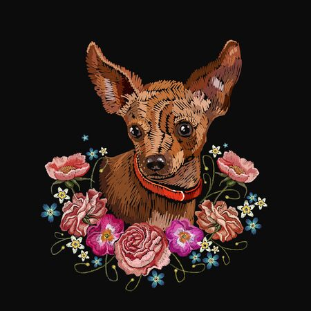 Embroidery dog and flowers. Chihuahua dog, vector art. Classical embroidery, dog and bouquet of flowers, roses, poppies, violets Stockfoto - 126839772