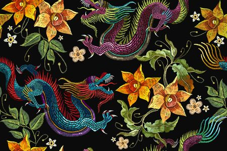 Embroidery dragons and narcissus flowers seamless pattern. Classical embroidery Asian dragon and beautiful flowers seamless pattern. China dragons vector