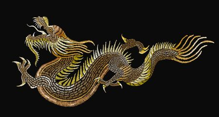 Embroidery golden chinese dragons. Classical embroidery asian golden dragons. Art dragons t-shirt design. Clothes, textile design template