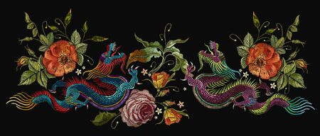Embroidery two chinese dragons, roses and peonies flowers. Classical embroidery asian dragons and beautiful red roses vector. Art dragons t-shirt design. Clothes, textile design template Stockfoto - 126839970