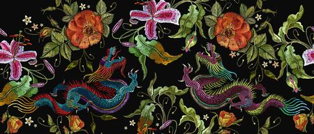 Embroidery two chinese dragons and roses flowers seamless pattern. Classical embroidery asian dragons and beautiful red roses vector. Art dragons t-shirt design. Clothes, textile design template 스톡 콘텐츠 - 126839972