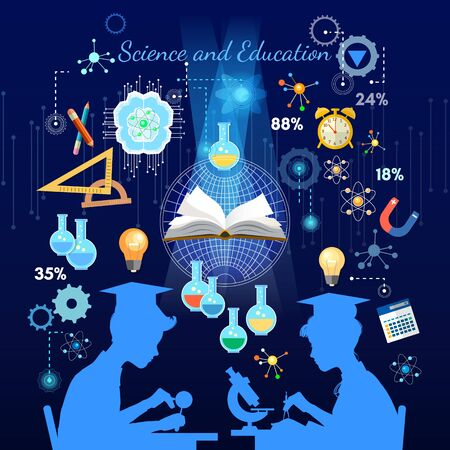 Education  and science concept. Silhouette of boy and girl. Children study. Open book of knowledge school background effective modern education template design 스톡 콘텐츠 - 126839973