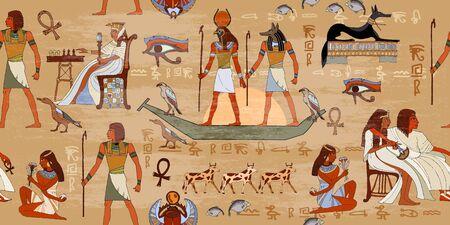 Patrón sin fisuras del antiguo Egipto. Fondo inconsútil de los murales de Egipto del grunge. Tallas jeroglíficas en las paredes exteriores de un patrón egipcio antiguo. Dioses y faraones egipcios