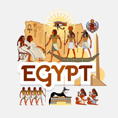 Travel to Ancient Egypt. Traditions and culture,  Welcome to Ancient Egypt. Collection of symbolic elements. Template travel background