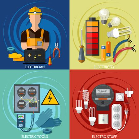 Professional electrical set, electricity energy electric man in yellow hard hat electric meter Stockfoto - 126839976