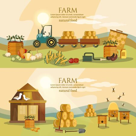 Farm agriculture landscape banner. Farmer products fresh farm vegetables natural food cartoon vector