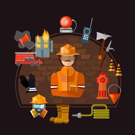 Professional firefighters. Equipment fireman, elements fire control vector illustration 일러스트