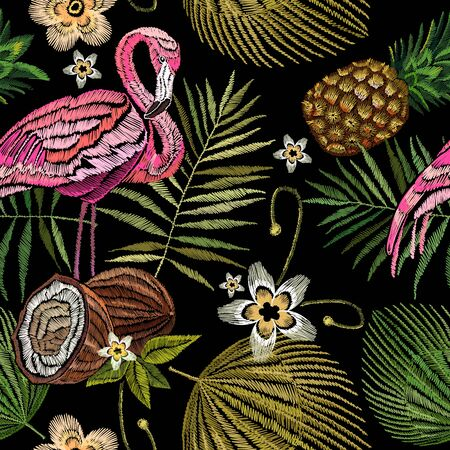 Embroidery flamingo , palm tree leaves, pineapple, coconut tropical seamless pattern. Fashionable template for design of clothes. Embroidery pink flamingos, tropical summer fashion background 스톡 콘텐츠 - 126421644