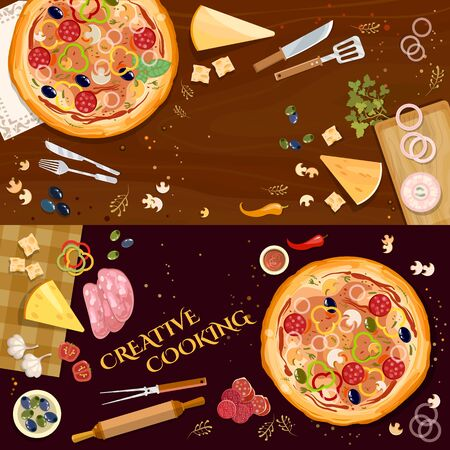 Pizza on wooden table top view banner. Making pizza, fresh ingredients for pizza vector 스톡 콘텐츠 - 126421645