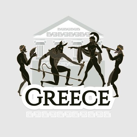 Travel to Ancient Greece. Traditions and culture,  Welcome to Greece. Collection of symbolic elements. Template travel background Stockfoto - 126421648
