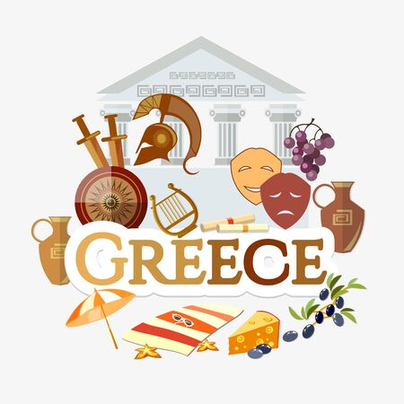 Travel to Greece. Traditions and culture,  Welcome to Greece. Collection of symbolic elements. Template travel background Stockfoto - 126421649