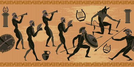 Ancient Greece seamless pattern. Black figure pottery. Hunting for a Minotaur, gods, fighter pattern