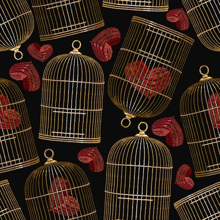 Embroidery birds cages and hearts. Symbol of love, passion. Red hearts in gold cages. Fashionable clothes, t-shirt design.  Clothes, t-shirt textile design template Illusztráció