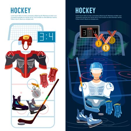World ice hockey championship, players shoots the puck and attacks. Signs and symbols elements of professional hockey banner