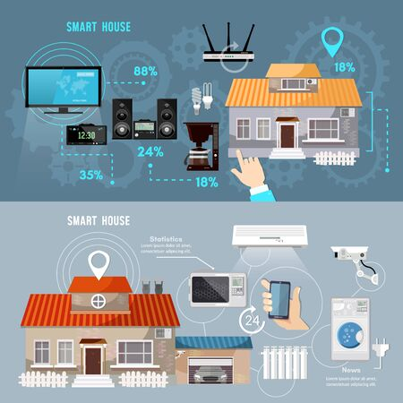 Smart house banner. Remote control of house. Smart home infographic banner. Modern technologies for household appliances Stockfoto - 126421665