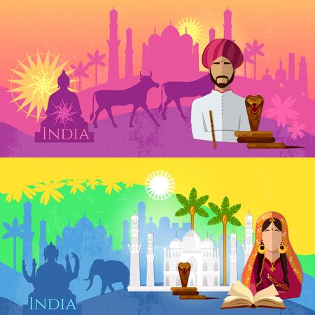 Travel to India banner. Taj mahal, elephants, saris, gods. Culture, traditions, attractions and people of India. Hinduism. illustration background set