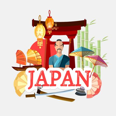 Travel to Japan. Traditions and culture,  Welcome to Japan. Collection of symbolic elements. Template travel background