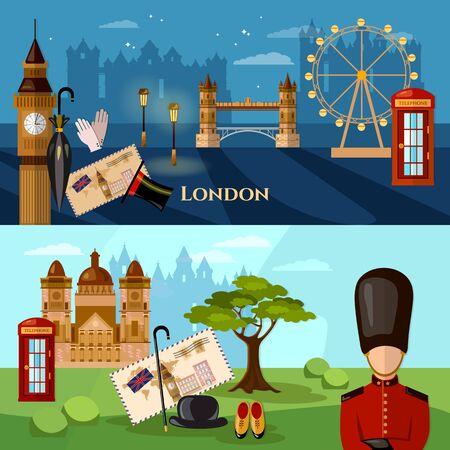 Bandera del horizonte de la ciudad de Londres. Edificios del Reino Unido Royal Guards atracción de Londres. Bienvenidos a Gran Bretaña