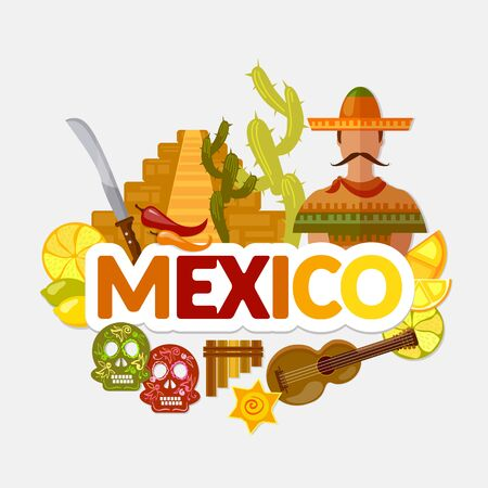 Travel to Mexico. Traditions and culture,  Welcome to Mexico. Collection of symbolic elements. Template travel background 스톡 콘텐츠 - 126421674
