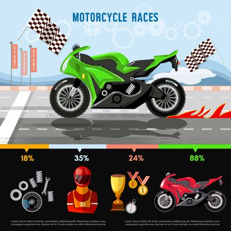 Motorcycle races infographic. Motorcycle racing championship on the racetrack. Moto sport vector concept