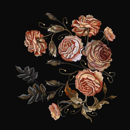 Roses vintage embroidery. Classical embroidery vintage buds of roses on black background. Design of clothes, t-shirt design, tapestry flowers renaissance style vector 일러스트