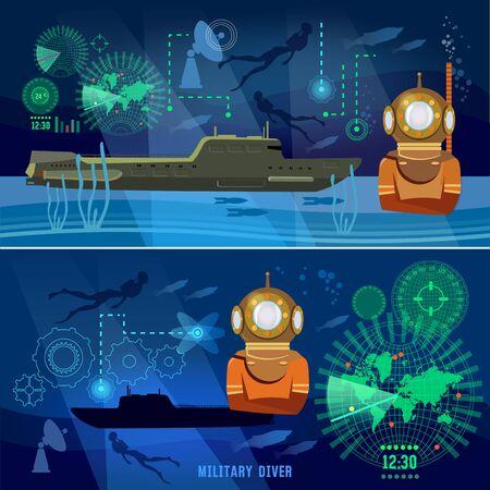 Bannières sous-marines. Armée moderne. Confrontation entre les superpuissances. Sous-marin de l'armée, plongeur sous-marin Vecteurs