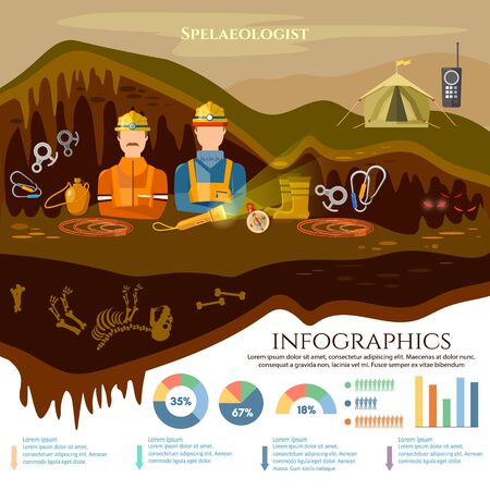 Éléments infographiques de spéléologie spéléo, étude d'illustration vectorielle de grottes souterraines