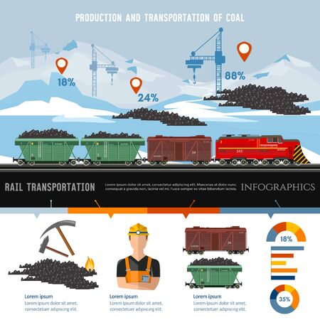 Coal mine, the train with coal infographic. Production and transportation of coal 스톡 콘텐츠 - 126421716